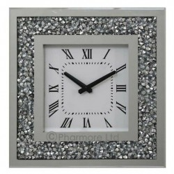 Gatsby Modern Diamante Crush Crystal Mirror Glass Square Wall Clock 35cm Silver