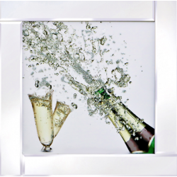Mirror Frame Champagne Bottle Picture with Glitter Liqud Galss Wall Art 60x60cm