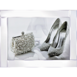 Mirror Frame Shoes Bag Picture with Glitter Liqud Crystal Glass Wall Art 95x75cm