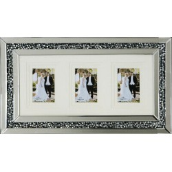 Crushed Crystal Mirror Glass Wall Photo Frame 3 Picture Diamonte Sparkly Silver