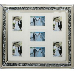 Crushed Crystal Mirror Glass Wall Photo Picture Frame Diamonte Sparkly Silver