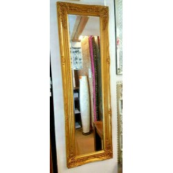 French Ornate Design Bevelled Wall Mirror 132x42cm Antique Gold Full Length