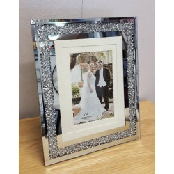 "Crushed Crystal Mirror Glass Photo Diamonte Frame Picture Size 8""x10""(20x25cm)"