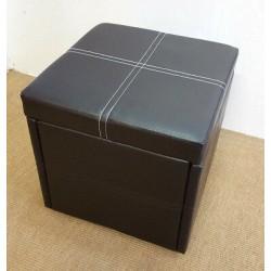 Premierinteriors Ottoman Pouffe Storage Single Seat Foot Stool Toy Box Faux Leather 41x41cm Brown