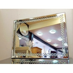 Floating Crystal Rectangle Wall Mirror Elegent Glass Diamond Frame 110x70cm