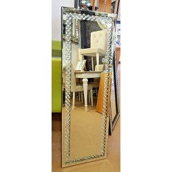 Floating Crystal Rectangle Wall Mirror Elegent Glass Full Length Frame 120x40cm