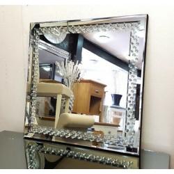Floating Crystal Square Wall Mirror Elegent Glass Diamond Frame Bevelled 60x60cm