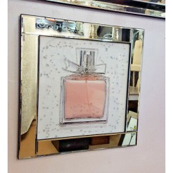 Premierinteriors Mirror Frame Perfume Bottle Picture with Glitter Liqud Galss Wall Art 60x60cm