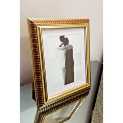 "Gold Photo Picture Wood Frame Size 32x28cm (12""x11"") Photo Size 19x24cm (7""x9"")"