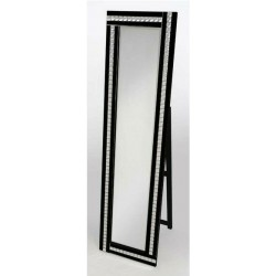 Cheval Acrylic Crystal Glass Design Bevelled Edge Standing Mirror 40x150cm Black