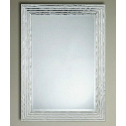 Delphine Wave Mirror Silver/Chrome Wooden Frame Bevelled Glass 69x95cm New