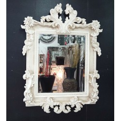 French Shabby Chic Vintage Antique White/Cream Ornate Mirror Glass 107x76cm New