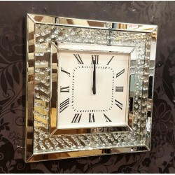 Modern Floating Crystals Bevelled Mirror Glass Square Wall Clock 50cm Silver 202