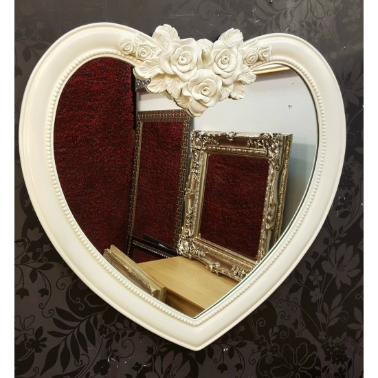 Heart Shape Wall Mirror Ornate Frame French Engrved Rose Design 88x84cm Cream