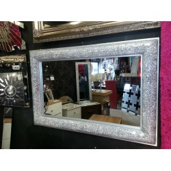 Crackle Bow Design Wall Bevelled Mirror Silver Frame Mosaic Glass 90x60cm New