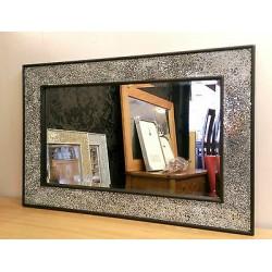 Crackle Design Wall Mirror Black Frame Mosaic Glass 90X60cm New Handmade