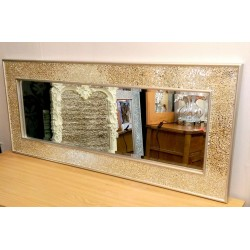 Crackle Mosaic Glass Champagne Silver Frame Wall Mirror Full Length120x50cm new