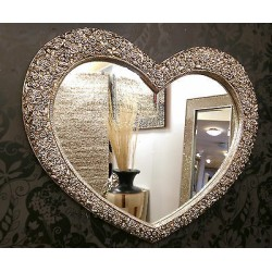 Large Heart Wall Mirror Ornate Champagne Silver French Engrved Roses 110X90cm