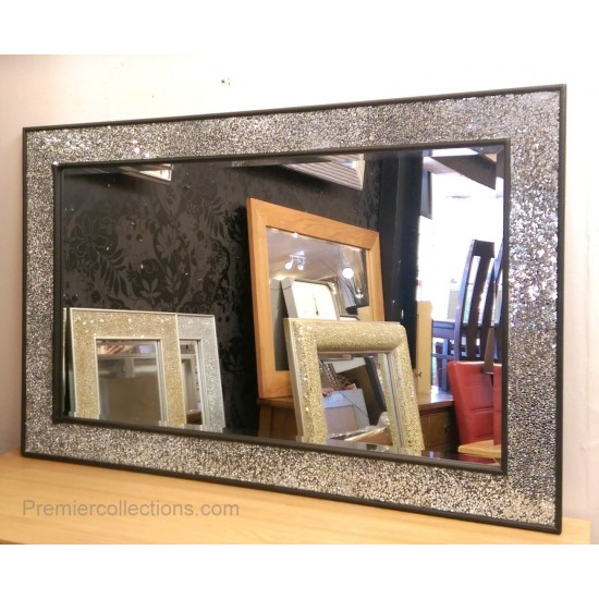 Crackle Design Wall Mirror Chunky Black Frame Mosaic Glass 120x80cm New Handmade