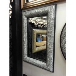 Crackle Bow Design Wall Mirror Black Frame Mosaic Glass 120X80cm New Handmade