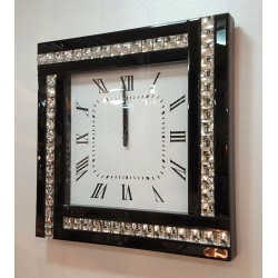 Modern Diamonte Crystal Mirrored Glass Square Wall Clock 45cm Black Frame