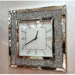 Gatsby Modern Diamante Crushed Crystal Mirror Glass Square Wall Clock 50cm Silver
