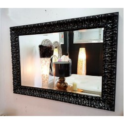 Premierinteriors Wall Mirror French Wood Ornate Antique Black Silver Bevelled Glass 110x80cm