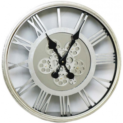 Large Wall Clock Roman Numeral Rotating Gear Cogs Silver Metal Mirror Round 55cm