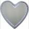 LED Light Heart Shape Floating Crystal Glass Silver Bevelled Wall Mirror 70x70cm
