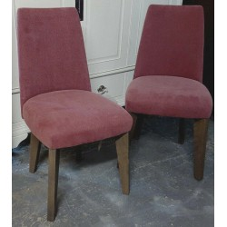 Bentley Designs Cadell Aged Weathered Oak Dining Chair Mulberry Upholstered