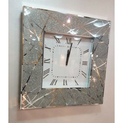 Modern Mirror Wall Clock Square Shimmer Glitter Lines Glass Frame 50cm Silver