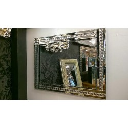 Modern Art Deco Acrylic Crystal Glass Design Bevelled Mirror 120x80cm Clear Silver
